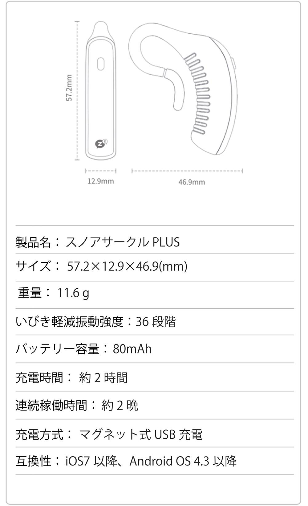 製品仕様 製品名:スノアサークル PLUS サイズ:57.2×12.9×46.9(mm) 重量:11.6g いびき軽減振動強度:36段階 バッテリー容量:80mAh 充電時間:約2時間 連続稼働時間:約2晩 充電方式:マグネット式USB充電 互換性:iOS7以降、AndroidOS4.3以降
