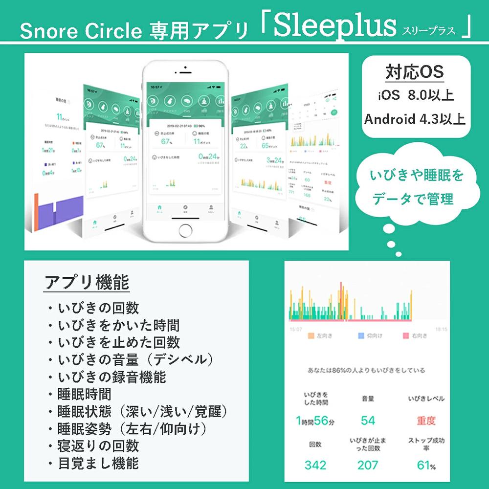 Snore Circle専用アプリ「Sleeplus」 いびきや睡眠をデータで管理できます 対応OSはiOS8.0以上、Android4.3以上